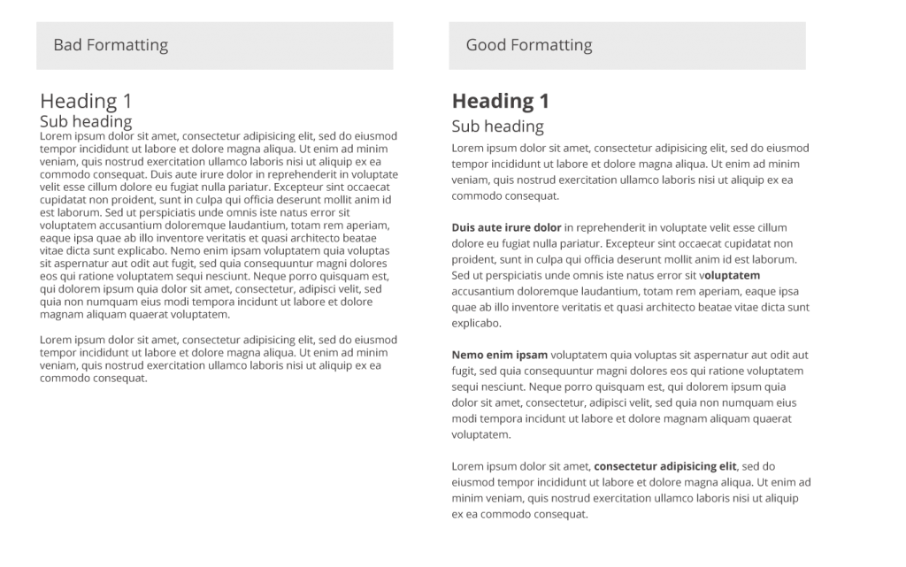 Good vs Bad Text Formatting on a web page