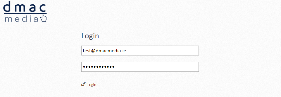 Dmac Media Admin Log In Screen Completed