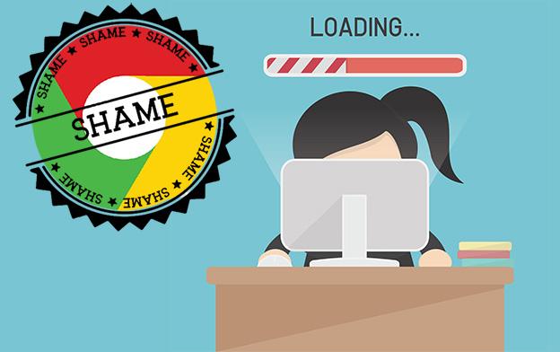 "Google Chrome's ""Badge of Shame"" for slow loading websites."