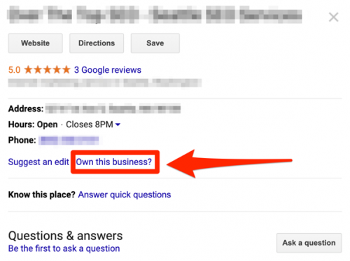 Google my business unverified listing